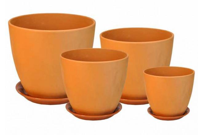 Горшок глина Бутон комплект из 4-х - интернет-магазин Крассула