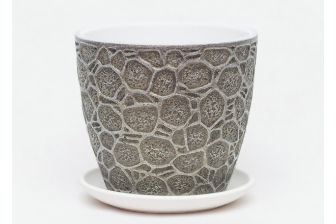 Горшок Черепаха серый бутон - интернет-магазин Крассула