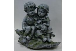 Фигура Дети с кошкой (под камень) - интернет-магазин Крассула