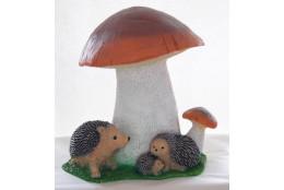 Фигура Гриб белый двойной  с семьёй ежей  - интернет-магазин Крассула