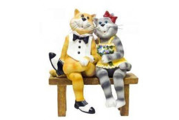 Фигура Кошки влюблённые на лавочке - интернет-магазин Крассула