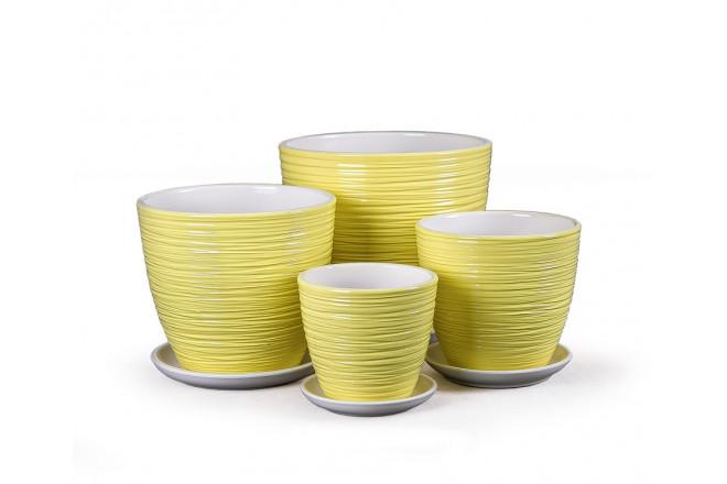 Горшок Спираль желтый крокус  - интернет-магазин Крассула