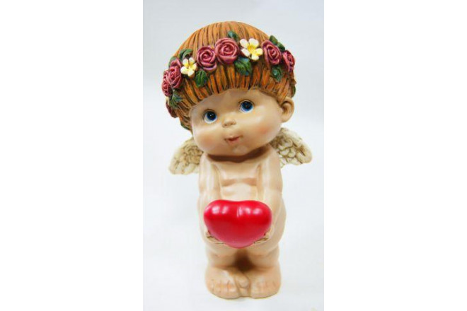 Фигура Ангел Прелесть 3 стоящий с большим сердцем - интернет-магазин Крассула