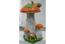 Фигура Гриб подосиновик с ёжиком в норе и улиткой