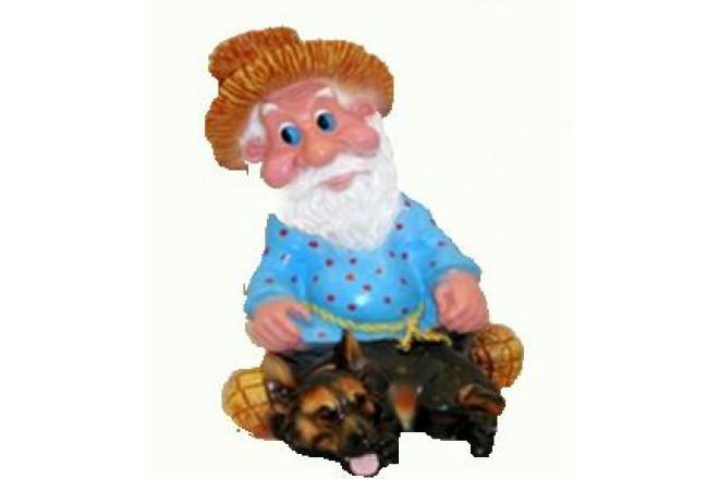 Фигура Лесовичок с овчаркой - интернет-магазин Крассула