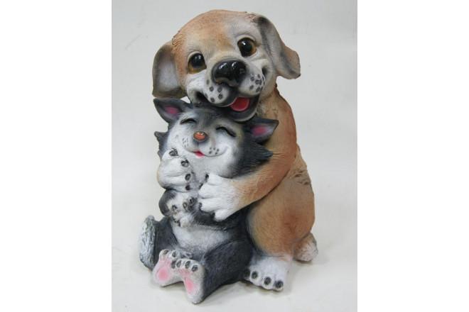 Фигура Щенок с котенком сидящий - интернет-магазин Крассула