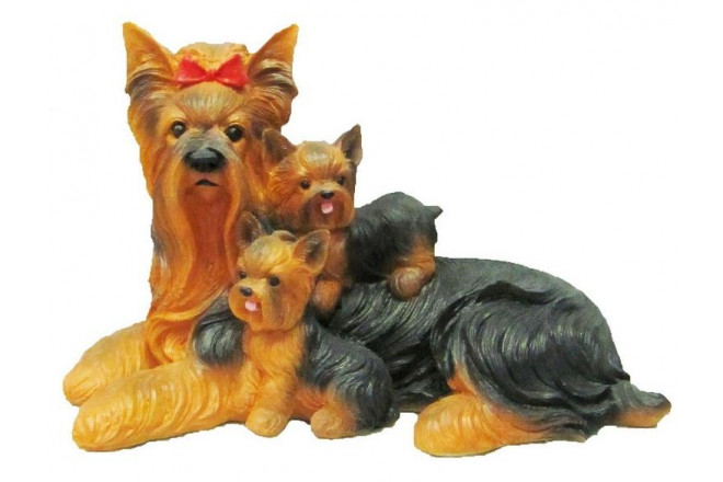 Фигура Собака  Йорк со щенками - интернет-магазин Крассула