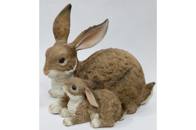 Фигура Зайчиха с зайчонком лежачая - интернет-магазин Крассула
