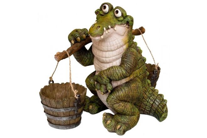 Фигура Зоокашпо Крокодил с коромыслом - интернет-магазин Крассула