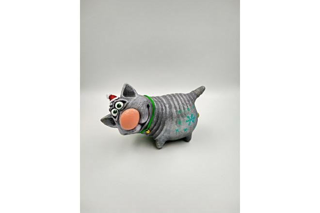 Фигура Новогодний котик с бубенчиком - интернет-магазин Крассула