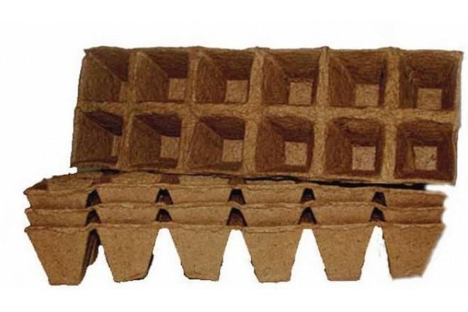 Торфяной горшочек 50*50 квадратныйт блок 6х2 - интернет-магазин Крассула
