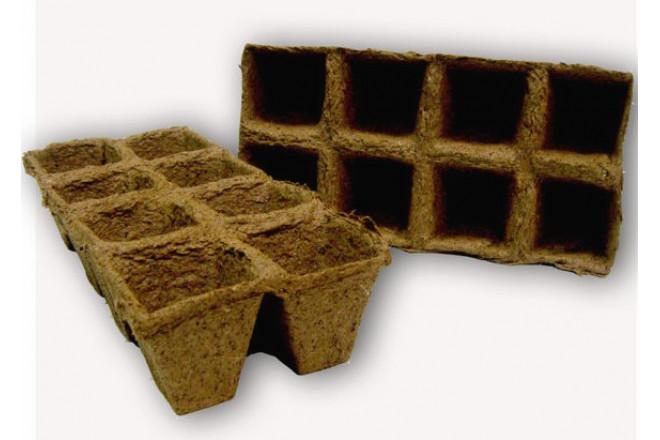 Торфяной горшочек 70*70 квадратный блок 4х2 - интернет-магазин Крассула