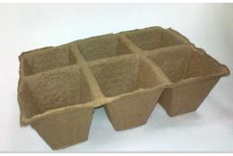 Торфяной горшочек 90*90 квадратный блок 3х2 - интернет-магазин Крассула