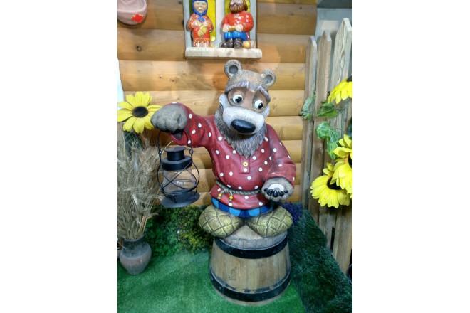 Садовая фигура Мишка с фонариком - интернет-магазин Крассула