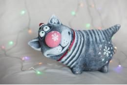 Фигура Котик с бубенчиком - интернет-магазин Крассула