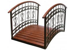 Мостик  декоративный деревянный с металлическими поручнями