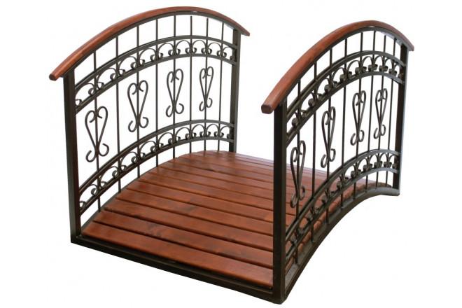 Мостик  декоративный деревянный с металлическими поручнями - интернет-магазин Крассула